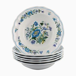 Deep Plates in Porcelain with Floral and Bird Motifs from Spode, England, Set of 6