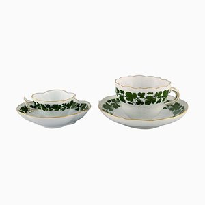 Green Ivy Vine Leaf Mocha Cup and Tea Cup with Saucers in Hand-Painted Porcelain from Meissen, Set of 4