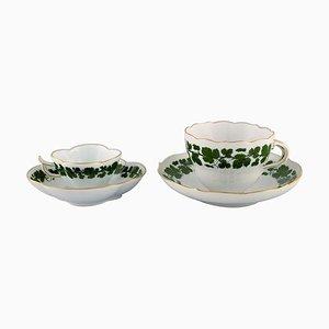 Grüne Efeu Weinblatt Mokka Tasse und Teetasse mit Untertassen aus handbemaltem Porzellan von Meissen, 4er Set