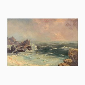 Jan B. Pospisil, Öl auf Leinwand, Küstenmotiv, Mitte 20. Jh