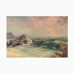 Jan B. Pospisil, Oil on Canvas, Coastal Motif, Mid-20th Century