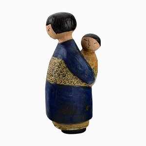 Japanese Mother with Child in Glazed Ceramics by Lisa Larson, 1970s