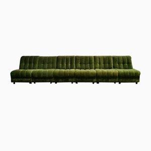 Sofá modular bohemio vintage de terciopelo verde. Juego de 6
