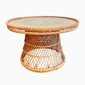 Runder Mid-Century Tisch mit Rattangeflecht