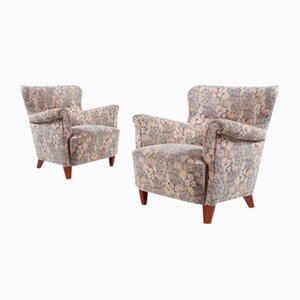 Swedish Modern Lounge Armchairs in Floral Fabric Upholstery, 1960s