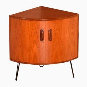 Mueble esquinero de teca restaurado con patas de horquilla de G Plan, años 60