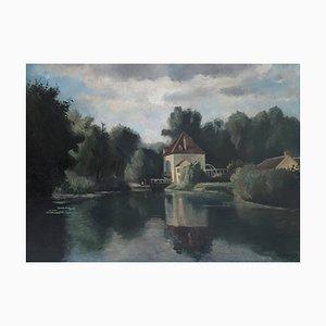 Georges Darel, Animierte Landschaft am Seineufer, 1925