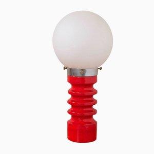Lámpara de mesa de cerámica roja