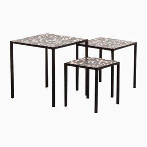 Tavolini ad incastro vintage con mosaico, set di 3
