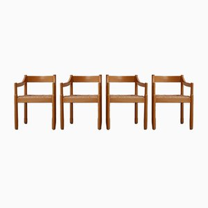 Mid-Century Italian Carimate Dining Armchairs by Vico Magistretti, Set of 4
