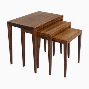 Tavolini ad incastro in palissandro di Severin Hansen per Haslev Møbelsnedkeri, Danimarca, anni '60, set di 3