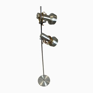 Skandinavische Lampe aus hellgrauem Metall, 1960er