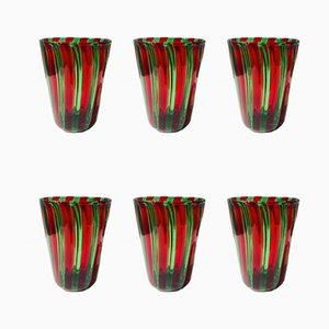 Vasos italianos de cristal de Murano estilo Gio Ponti. Juego de 6