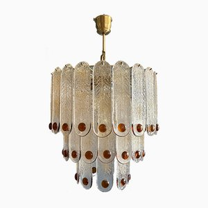 Lampada da soffitto grande in vetro di Murano di Mazzega