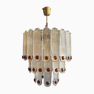 Lámpara de techo grande de cristal de Murano de Mazzega