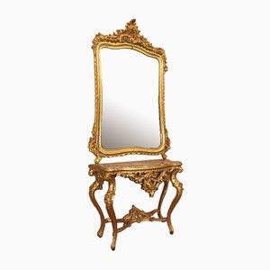 Consola con espejo, años 1770-1800