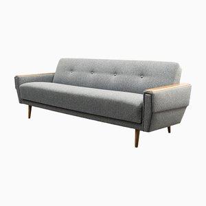 Sofá gris con función plegable, años 60