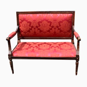 French Beech-2 Seater Sofa in Red, 1910s