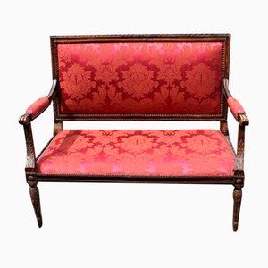 Sofá de dos plazas francés de haya en rojo, años 10
