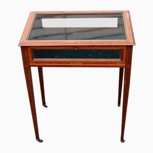 Mahogany Jewelry Display Cabinet with Inlay