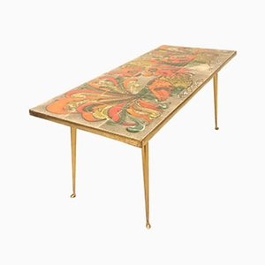 Gekachelter Bronze Tisch mit Hahnenkampf Motiv, 1950er