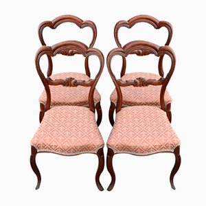 Mahogany Heart Shaped Chairs in Pink, 1900s, Set of 4