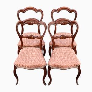 Sillas en forma de corazón de caoba en rosa, década de 1900. Juego de 4