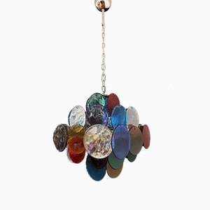 Vintage Italian Murano Glass Chandelier with 36 Multicolored Discs, 1979