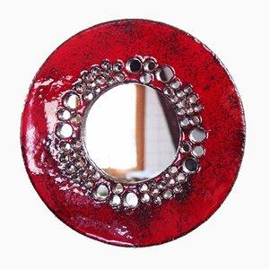 Roter Keramik Spiegel, 1960er