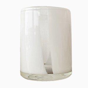 Jarrón Mid-Century cilíndrico de vidrio artístico blanco y transparente, años 70