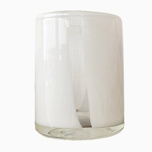 Mid-Century Clear & White Art Glass Cylinder Vase, 1970s