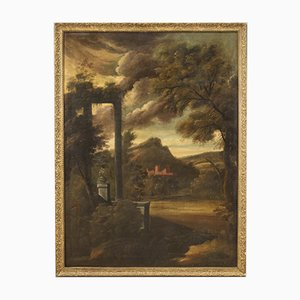Ancient Landscape with Ruins, 18th Century, Oil on Canvas