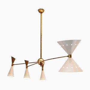 Lámpara de araña italiana Mid-Century con efecto de latón y marfil, años 60