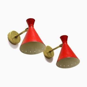 Italienische Mid-Century Messing Wandlampen, 2er Set