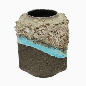 Jarrón pequeño de cerámica hecho a mano con esmalte turquesa, años 70