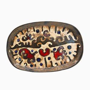Plato de cerámica esmaltada de Rogier and Laurent Vandeweghe Perignem Workshop, Bélgica, años 60