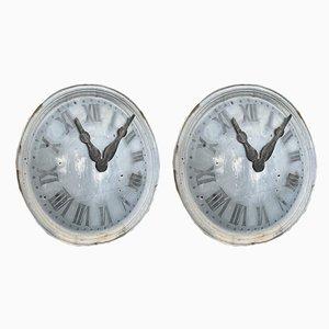 19th Century Zinc Church Tower Clock Faces, Set of 2