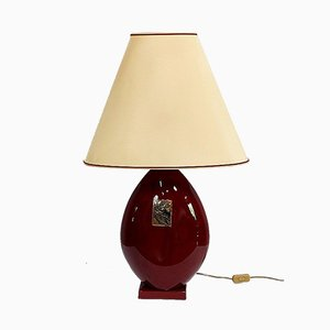 Garnet Faience Lamp with Lampshade by Louis Drimmer, 20th Century