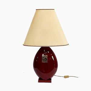 Lámpara de fayenza granate con pantalla de Louis Drimmer, siglo XX