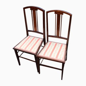 Mahogany Chairs in Striped Upholstery, 1960s, Set of 2