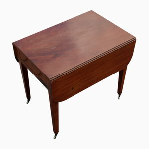 Small Mahogany Drop Leaf Table with One Drawer, 1900s