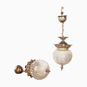 French Glass Pendant Lamps, Set of 2