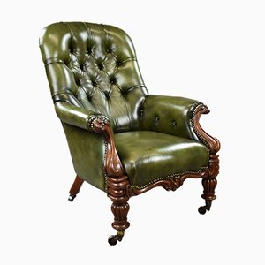 William IV Hand Dyed Green Leather Armchair