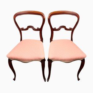 Mahagoni Cab Leg Stühle in Blassrosa, 1900er, 2er Set