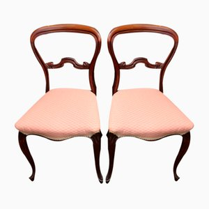 Mahogany Cab Leg Chairs in Pale Pink, 1900s, Set of 2
