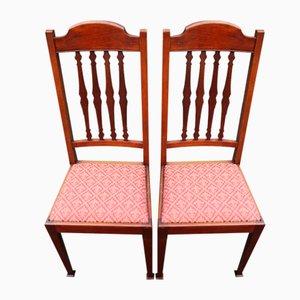 Mahagoni Stühle mit hoher Rückenlehne, 1920er, 2er Set