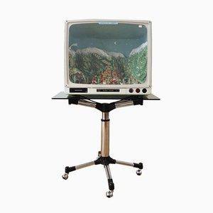 Grundig Fernseher mit leuchtender handwerklicher Krippe, 1950er