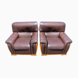 Brown Leather Armchairs, 1960s, Set of 2