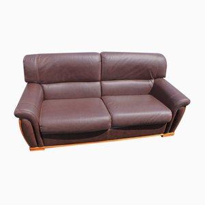 Sofá de tres plazas de cuero marrón, años 60