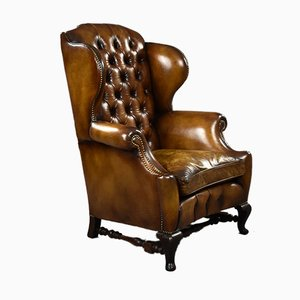 Victorian Hand Dyed Leather Wingback Armchair